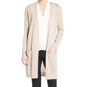 Halogen cream and grey long duster cardigan